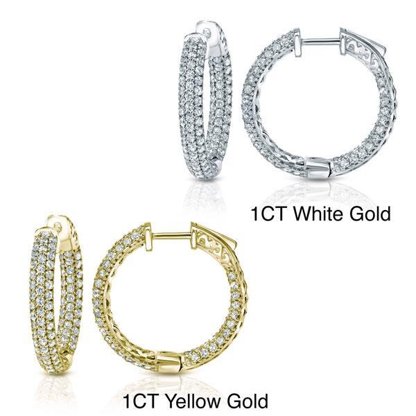013a5e226744e9 Auriya 14k Gold Small to Large Inside Out Pave Diamond Hoop Earrings