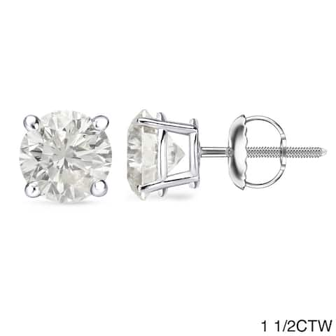 Auriya 1 to 2ctw Round Diamond Stud Earrings 18k Gold Certified