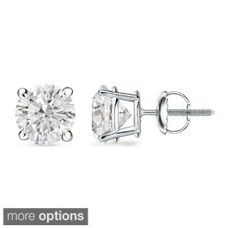 Auriya Platinum 1 to 2ct TDW GIA Certified Diamond Stud Earrings (H-I, SI1-SI2)