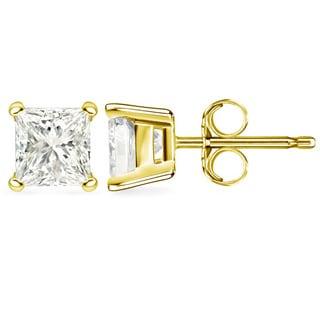 Auriya 14k Gold 3ct TDW Certified Princess Diamond Stud Earrings (G-H, I1)