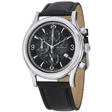Grovana Men's 1728.9537 Black Dial Black Leather Strap Chronograph Watch