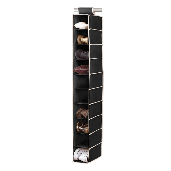 10-shelf Black/ Cream Shoe Organizer