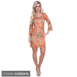 White Mark Women's 'Malibu' Print Long Sleeve Mini Dress