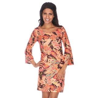 White Mark Women's 'Paisley Heaven' Bell Sleeve Mini Dress
