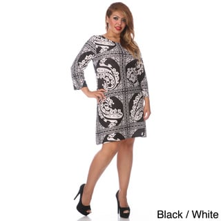 White Mark Women's Plus Size Multi Print Dress