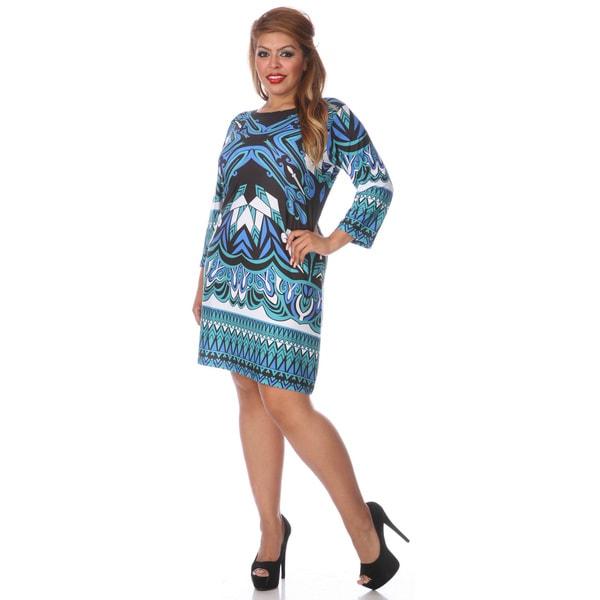 White Mark Women's Plus Size Multi Print Dress