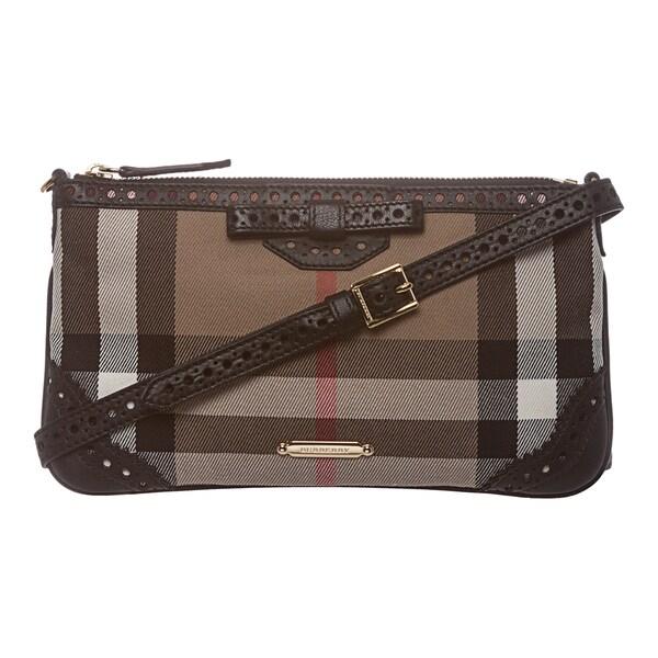 Burberry 'Peyton' Brown House Check Shoulder Bag