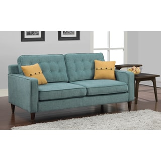 Shop Jackie Aqua Sofa With French Yellow Button Pillow Free Shipping