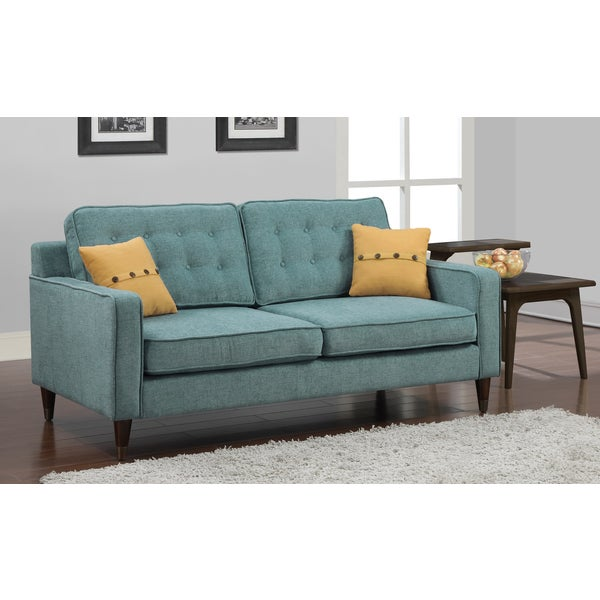 Shop Jackie Aqua Sofa With French Yellow Button Pillow