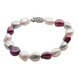 Pearls For You Sterling Silver Multi-colored Baroque Freshwater Pearl Strand Bracelet (9-10 mm)