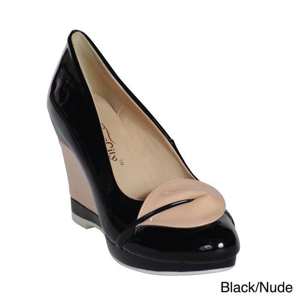 black wedge pump shoes