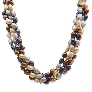Pearls For You Sterling Silver Dyed Chocolate, Black, Grey and Champagne Baroque Freshwater Pearl 4-Strand Necklace (7-8 mm)