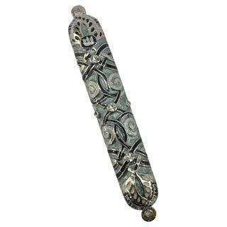 Exotic Fine Crafted Metal Blue, Pearl Jewels Mezuzah Case