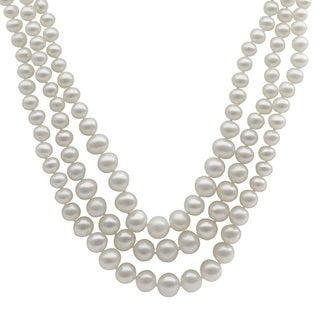 Pearls For You Sterling Silver White Freshwater Pearl Graduated 3-Strand Necklace (3.5-8.5 mm)