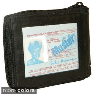 Men's Leather Bi-fold Zip-around Wallet