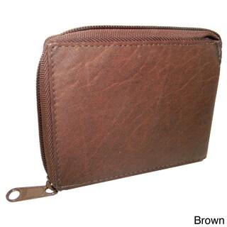 Men's Cowhide Leather Bi-fold Zipper Wallet