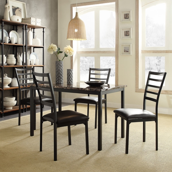 Darcy II Faux Marble Top Black Metal 5 Piece Casual Dining Set By INSPIRE Q