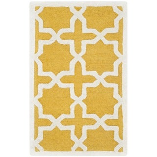 Safavieh Handmade Moroccan Cambridge Gold/ Ivory Wool Rug (2' x 3')