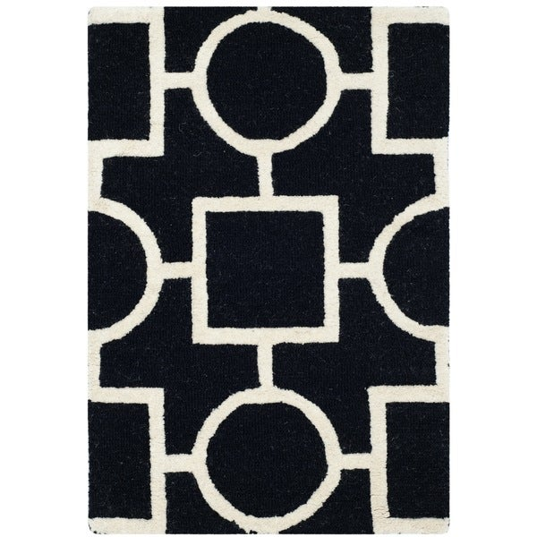 Safavieh Handmade Moroccan Cambridge Black/ Ivory Wool Accent Rug ...