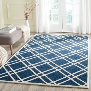 Safavieh Handmade Moroccan Cambridge Navy/ Ivory Wool Indoor Rug (3' x 5')