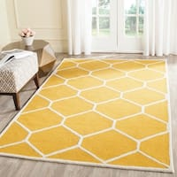 Large Safavieh Handmade Moroccan Cambridge Gold/ Ivory Wool Rug - 6' x 9'