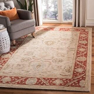 Safavieh Handmade Anatolia Oriental Taupe/ Red Hand-spun Wool Rug (8' x 10')