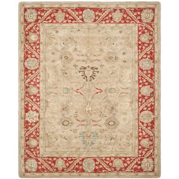 Safavieh Handmade Anatolia Oriental Taupe/ Red Hand-spun Wool Rug (9' x 12')