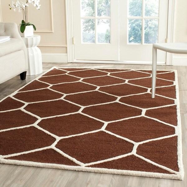 Safavieh Handmade Moroccan Cambridge Dark Brown/ Ivory Wool Indoor Rug - 9' x 12'
