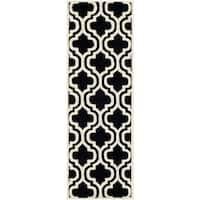 "Safavieh Handmade Moroccan Chatham Black/ Ivory Wool Runner Rug - 2'3"" x 7'"