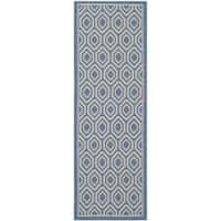 Safavieh Courtyard Honeycomb Blue/ Beige Indoor/ Outdoor Rug - 2'3 x 6'7