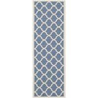 """Safavieh Courtyard Moroccan Trellis Blue/ Beige Indoor/ Outdoor Rug - 2'3"""" x 6'7"""""""