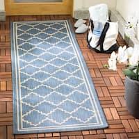 Safavieh Courtyard Transitional Blue/ Beige Indoor/ Outdoor Rug - 2'3 x 10'