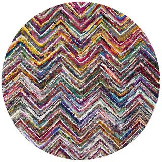 Safavieh Handmade Nantucket Abstract Chevron Multicolored Cotton Area Rug (4' x 4' Round)
