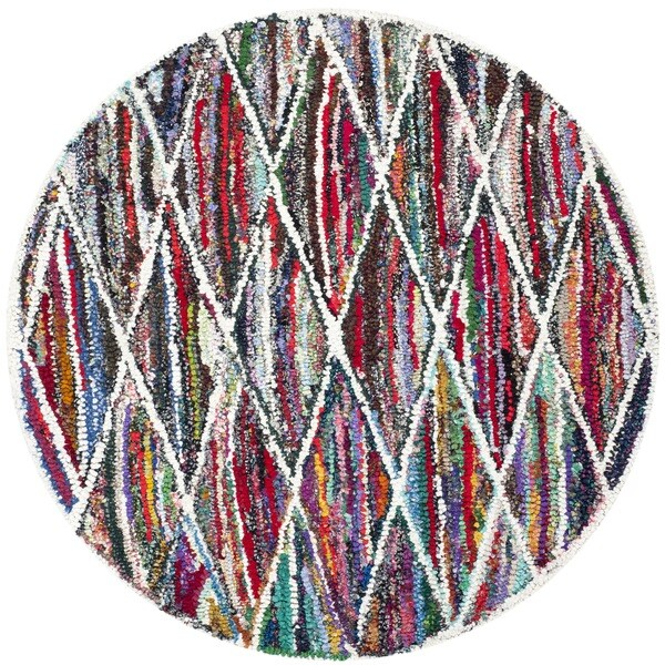 Safavieh Handmade Nantucket Modern Abstract Multicolored Cotton Rug - 4' Round
