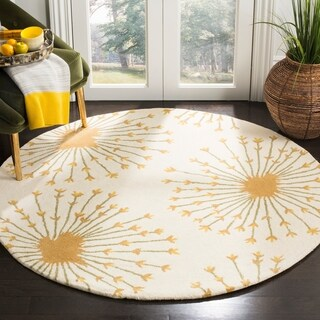 Safavieh Handmade Bella Beige/ Gold Wool Rug (5' Round)