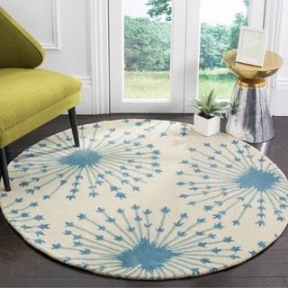 Safavieh Handmade Bella Beige/ Blue Wool Rug (5' Round)