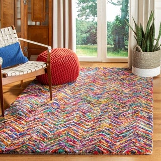Safavieh Handmade Nantucket Abstract Chevron Multicolored Cotton Rug (6' x 6' Round)