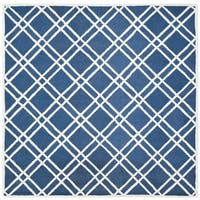 Safavieh Handmade Moroccan Cambridge Crisscross-pattern Navy/ Ivory Wool Rug - 8' Square