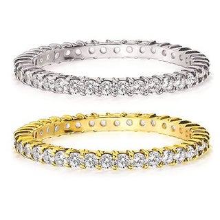 Amore 14K Gold 1/2ct TDW Machine-set Diamond Eternity Band