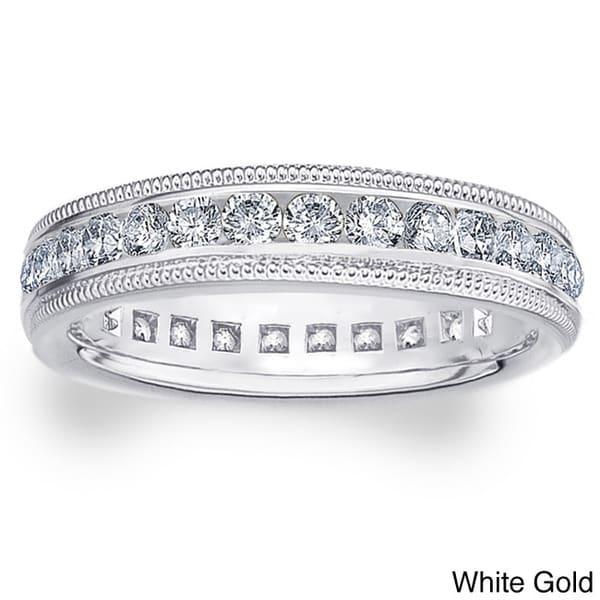 Amore 14k White/Yellow Gold 1ct TDW Milgrain Diamond Wedding Band (H-I, I1-I2)