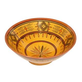 Handmade Moroccan Berber Yellow Ceramic Bowl (Morocco)