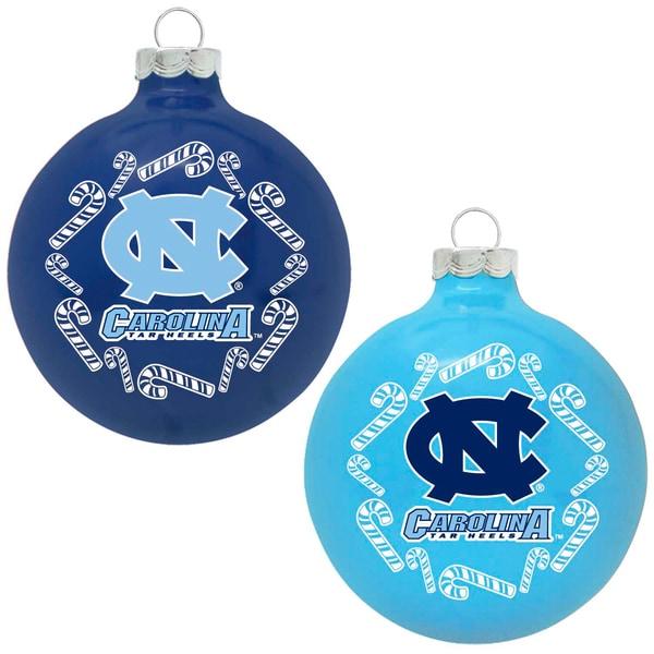 North Carolina Tarheels NCAA Home and Away Glass Ornaments
