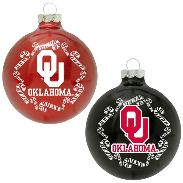 NCAA Oklahoma Sooners Home and Away Glass Ornaments