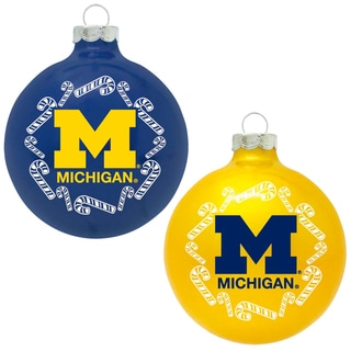 NCAA Michigan Wolverines Home and Away Glass Ornaments