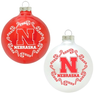 NCAA Nebraska Cornhuskers Home and Away Glass Ornaments