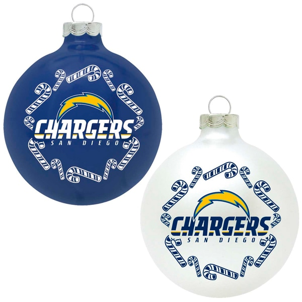 NFL San Diego Chargers Home and Away Glass Ornaments