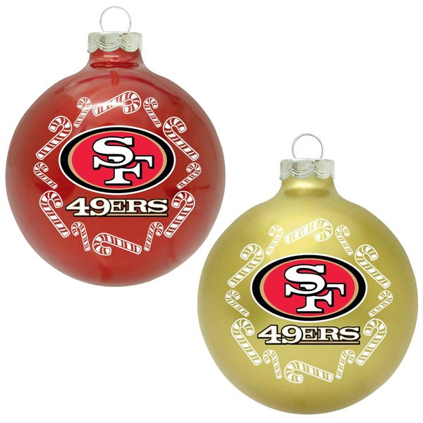NFL San Francisco 49ers Home and Away Glass Ornaments