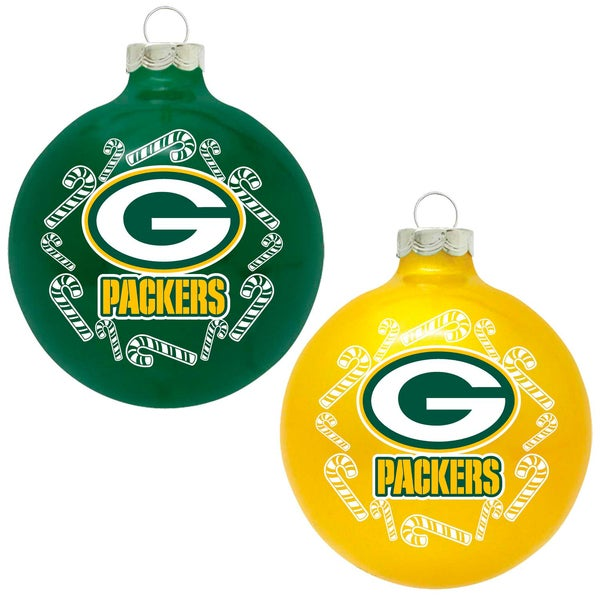 NFL Green Bay Packers Home and Away Glass Ornaments