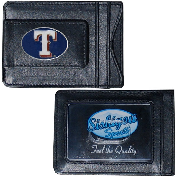 MLB Texas Rangers Leather Money Clip and Cardholder