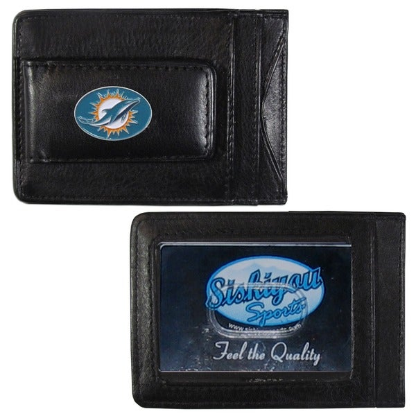 NFL Miami Dolphins Leather Money Clip and Cardholder